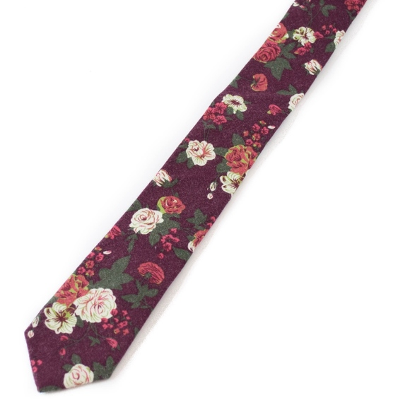448ed95bb021 Groomsland Accessories | Mens Slim Burgundy Boho Floral Necktie ...